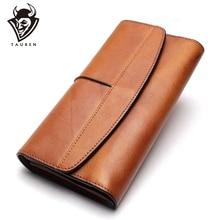 محفظة طويلة محفظة خمر جلد طبيعي حقائب الهاتف مساء براثن والمحافظ جلد طبيعي ريترو كراتشي المحفظة