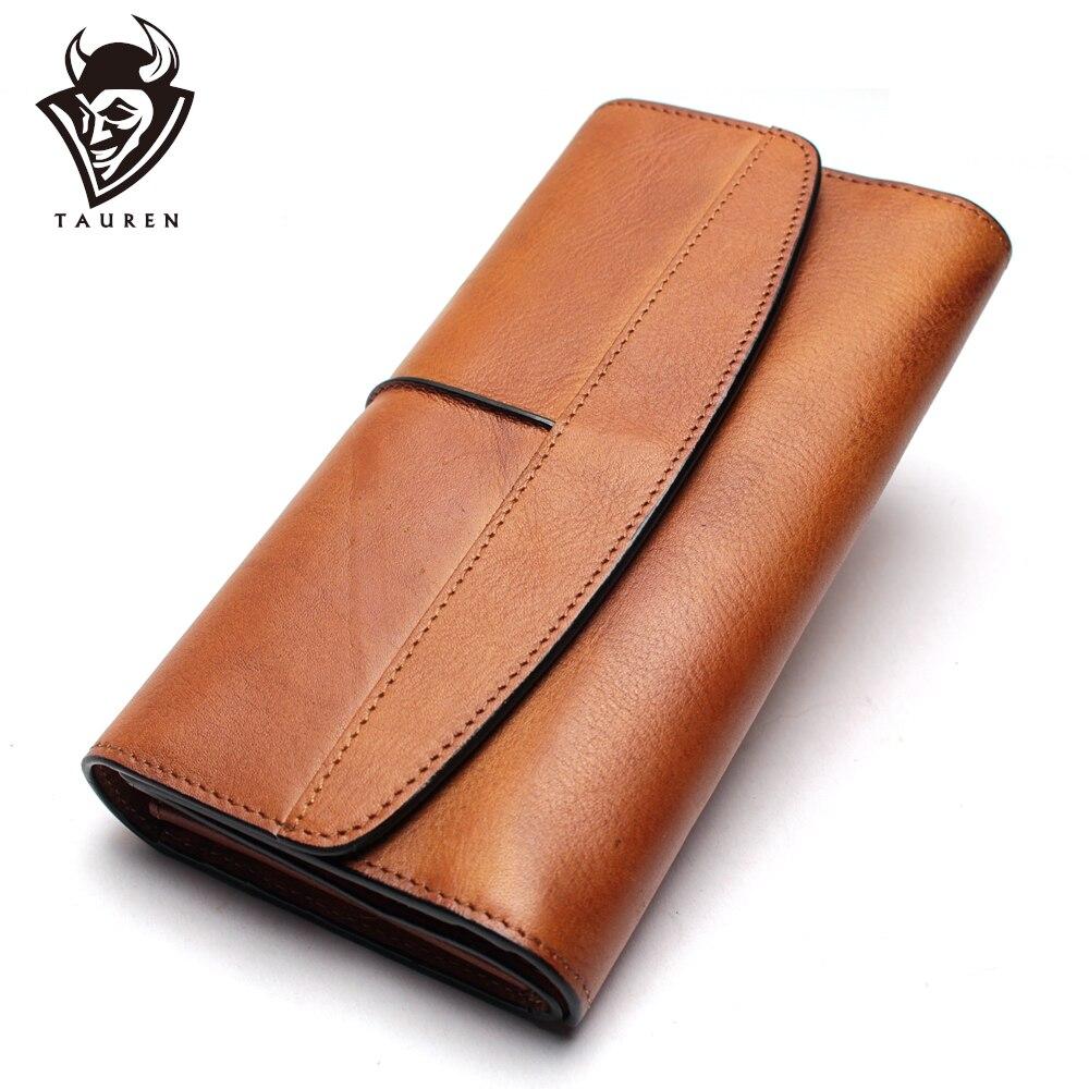 Portefeuille Long sac à main Vintage en cuir véritable téléphone sacs pochettes de soirée et sacs à main en cuir véritable rétro Karachi portefeuille