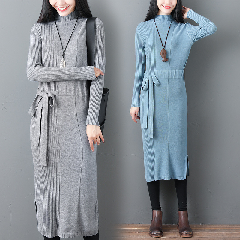 #2044 Spring Straight Turtleneck Long Sweater Dress Women Casual Plus Size Drawstring Waist Straight Knitted Dresses Elegant