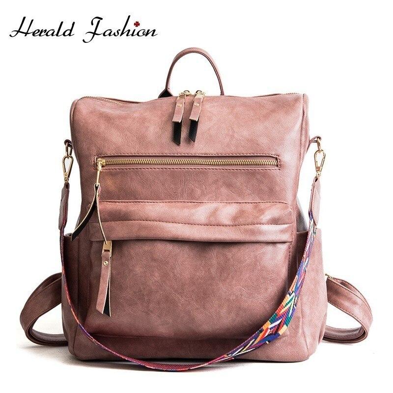 Herald Fashion Retro Large Backpack Women PU Leather Rucksack Women's Knapsack Travel Backpacks Shoulder School Bags Mochila