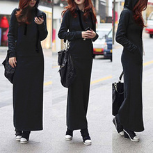 Women Dress Long Sleeve Autumn Shirt Straight Female Hoodie Dresses empire Black
