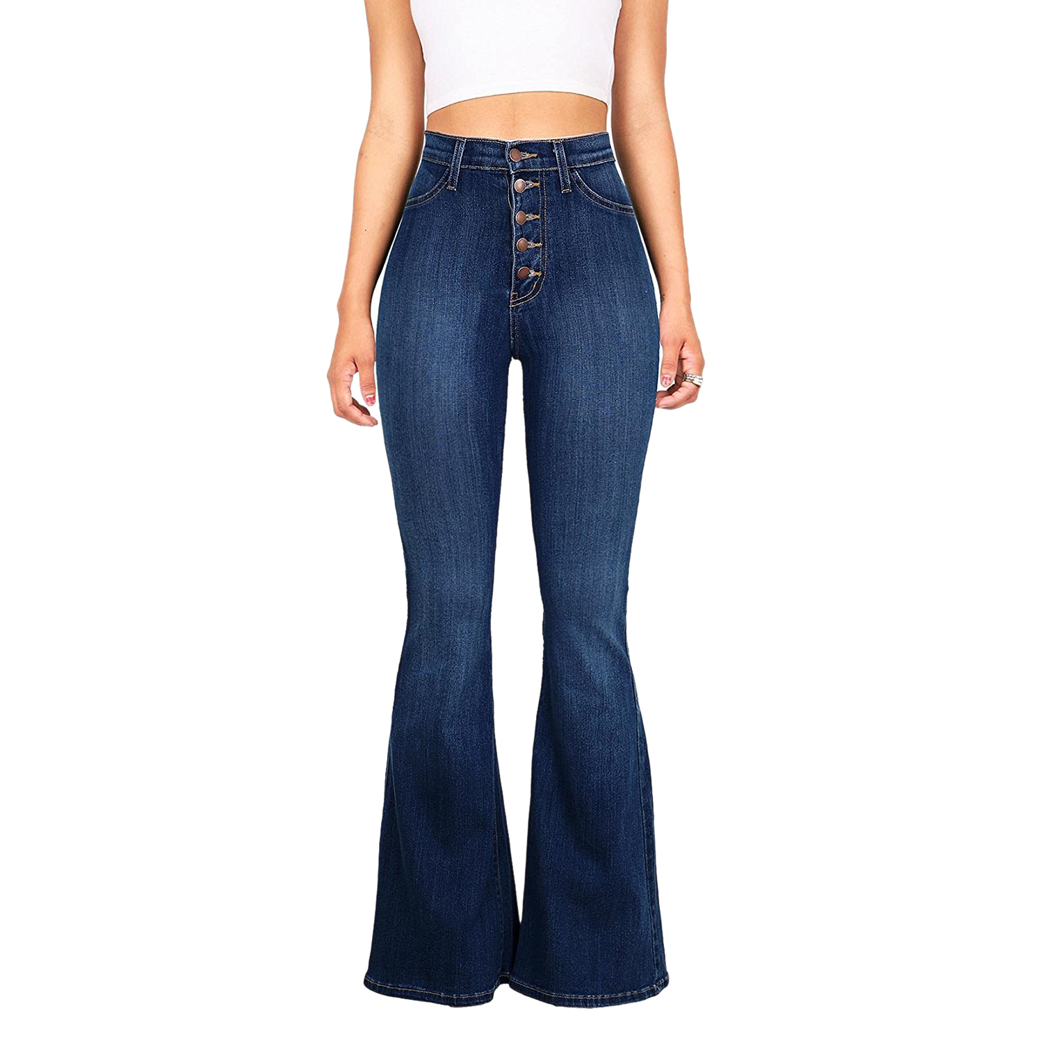 Women Vintage High Waist Stretchy Multi Button Fit Flare Jeans Ladies Casual Washed Denim Trousers Dark Blue L