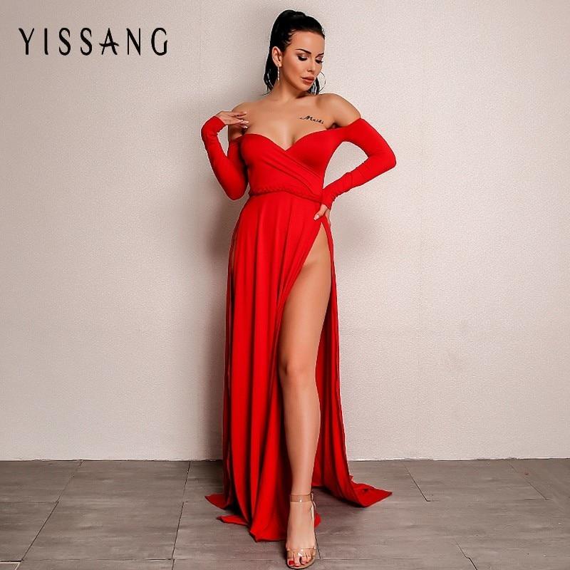 Yissang Maxi Boho Dress Women Off Shoulder Long Sleeve Splits Sexy Party Dresses Elegant Autumn Winter Female Vestidos