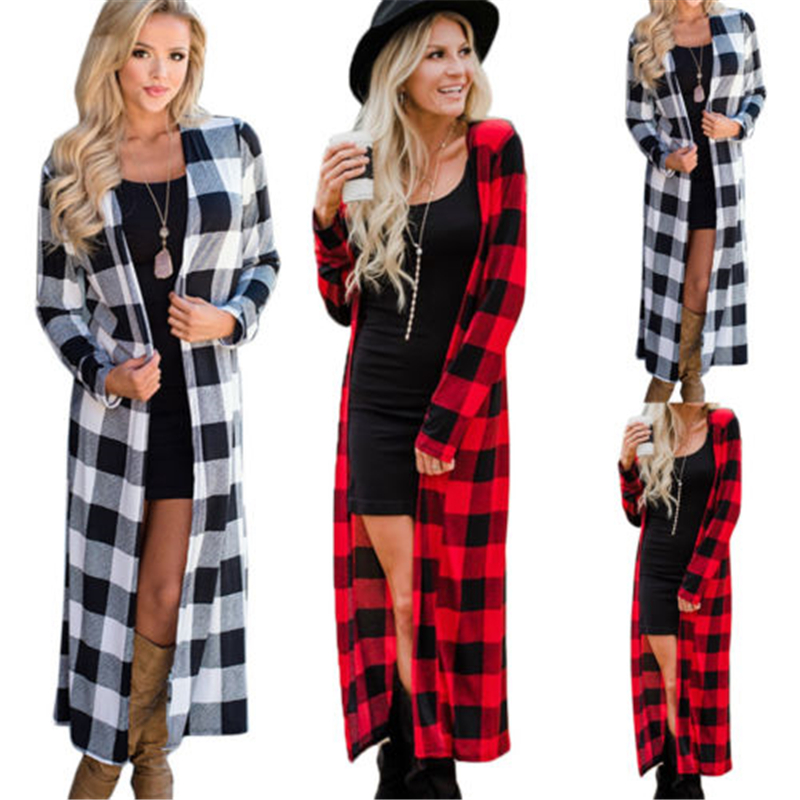 Cardigans Women 2018 Plaid Printed Cardigan Open Front Loose Long   Trench   Jumper Outwear Coat Tops Plus Size