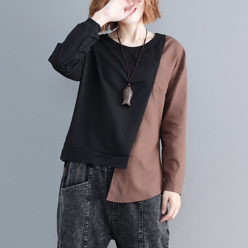 SHENGPALAE 2019 New Spring Casual Patchwork Long Sleeve Round Collar Irregular Hem Women Loose Big Szie Fashion T-shirt FL225 1