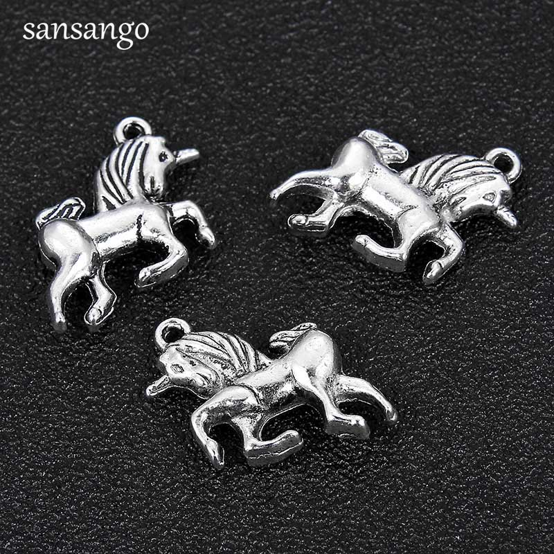 10pcs Antiqued Silver Tone Unicorn Charms Pendants Craft Diy Making Bracelet Necklace Jewelry Handmade Accessories For Unisex Handsome Appearance