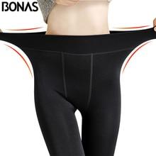 BONAS Winter Warm Pantyhose Tights High Elastic Waist Velvet Legins Thick Tights Female Plus Size Collant Stretchy Pantyhose