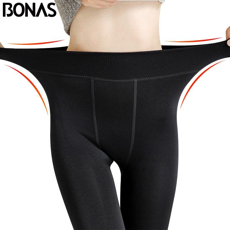 BONAS de invierno cálido medias panty alta elástico en la cintura de terciopelo de Legins grueso medias Mujer Plus tamaño Collant elástico medias