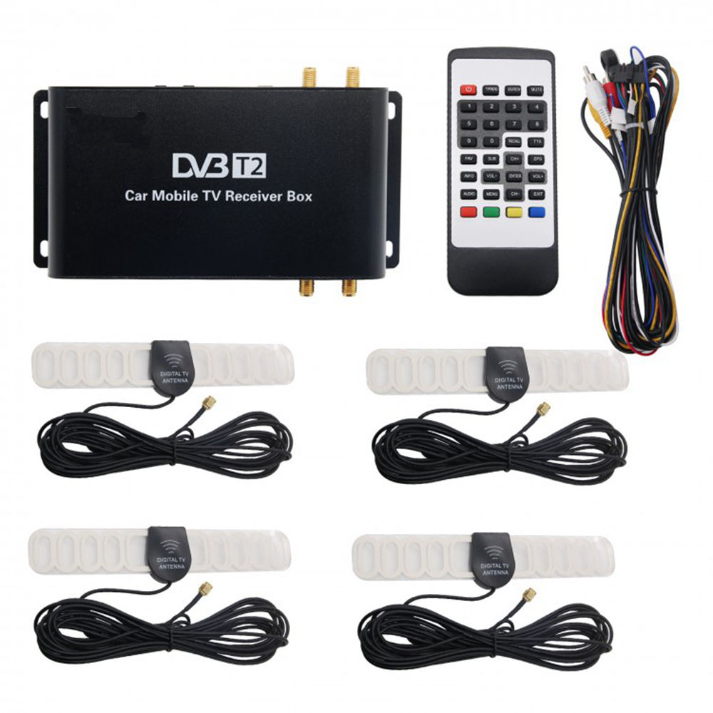 Koqit Germany 160 180km/h Vehicle Mobile Car H.265 DVB T2 DVB T2 T Digital TV Box Receiver 4 Chip Active Antenna Tuner Player