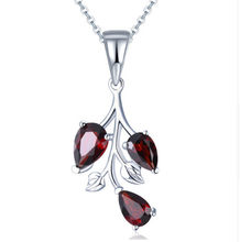 New Solid 925 Sterling Silver Natural Stone Garnet Leaf Pendant Necklace Fashion Collier Jewelry For Women Bijoux Femme Colar(China)