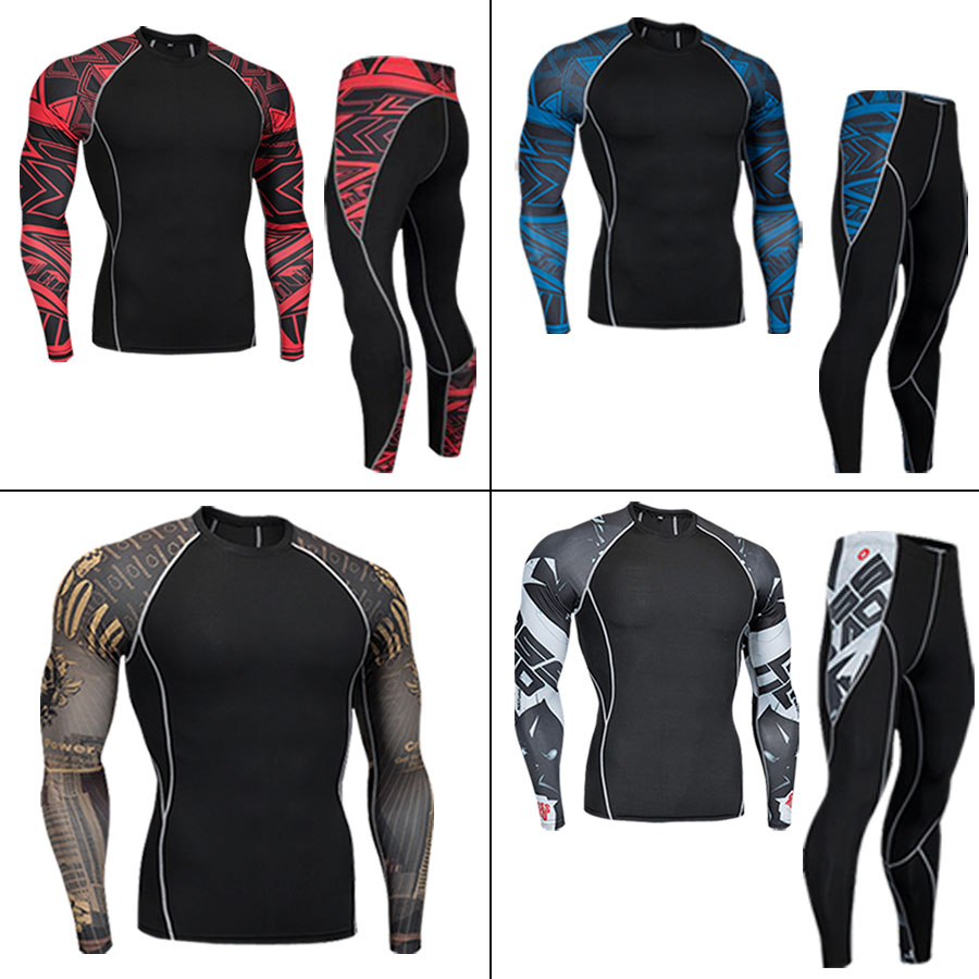 Men's Suit Winter Thermal Underwear Sportswear Base Layer Sport Fitness Quick-drying Clothes Fleece Compression Running Clothes