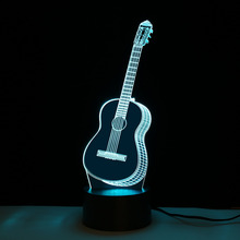 Creative LED Night Light Guitar Shape Lamp Color Changing Decorative Desk Home Decor Hot Sale