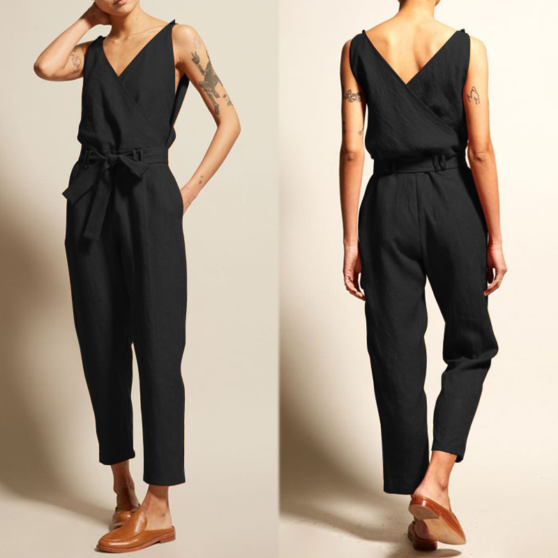 ZANZEA   Jumpsuits   Women Vintage Linen Pantalon V Neck Sleeveless Playsuits Female Casual Backless Overalls Belt Summer Trousers