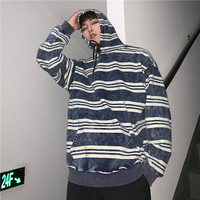 2019 Spring Men's Stripe Printing Coats Cowboy Pullover Male Hooded Hoodies Cotton Clothes Casual White/navy hoodie sweatshirt