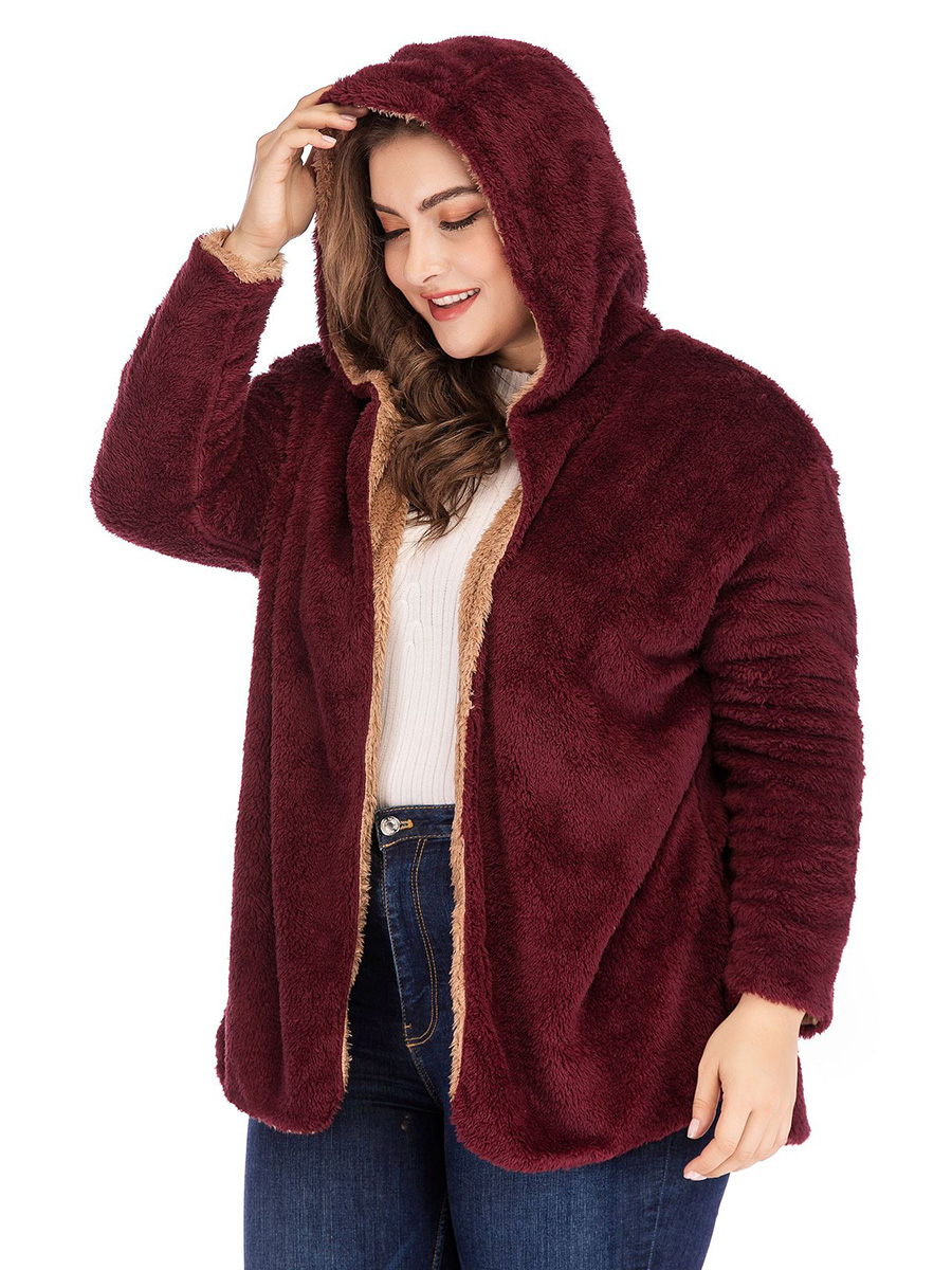 fashion lambswool Tops Women's Casual Plus Size Cardigan Long Sleeve solid thick warm Hooded Jacket ladies Coat girls Outwear