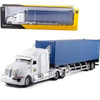 1:43 American Container Truck Container Transporter Alloy Model Toy High Simulation Modeling Toy Car Children's Gift