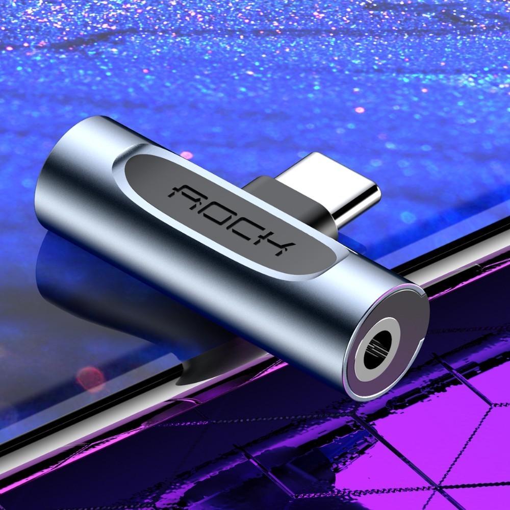 Rock USB Type C To 3.5mm Adapter For Samsung Xiaomi Huawei Metal 2in1 OTG 3.5 Mm Headphone Jack Splitter Type-c Usb -c Connerter