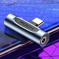 Rock USB tipo C a 3,5mm adaptador para Samsung Xiaomi Huawei Metal 2in1 OTG para auriculares de 3,5mm Jack Splitter tipo-c Usb-c Connerter