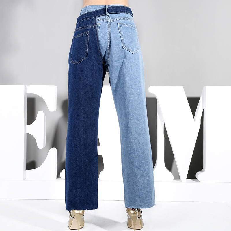 [EAM] 2021 New Spring Autumn High Waist Blue Hit Color Two Piece Stitch Pencil Pants Women Jeans Trousers Fashion Tide SC08