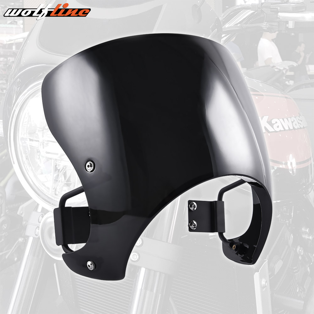 For 2018 Kawasaki Z900RS Motorcycle Aftermarket Plastic Windscreen Windshield Cafe Racer Fairing Wind Shield Screen with Bracket