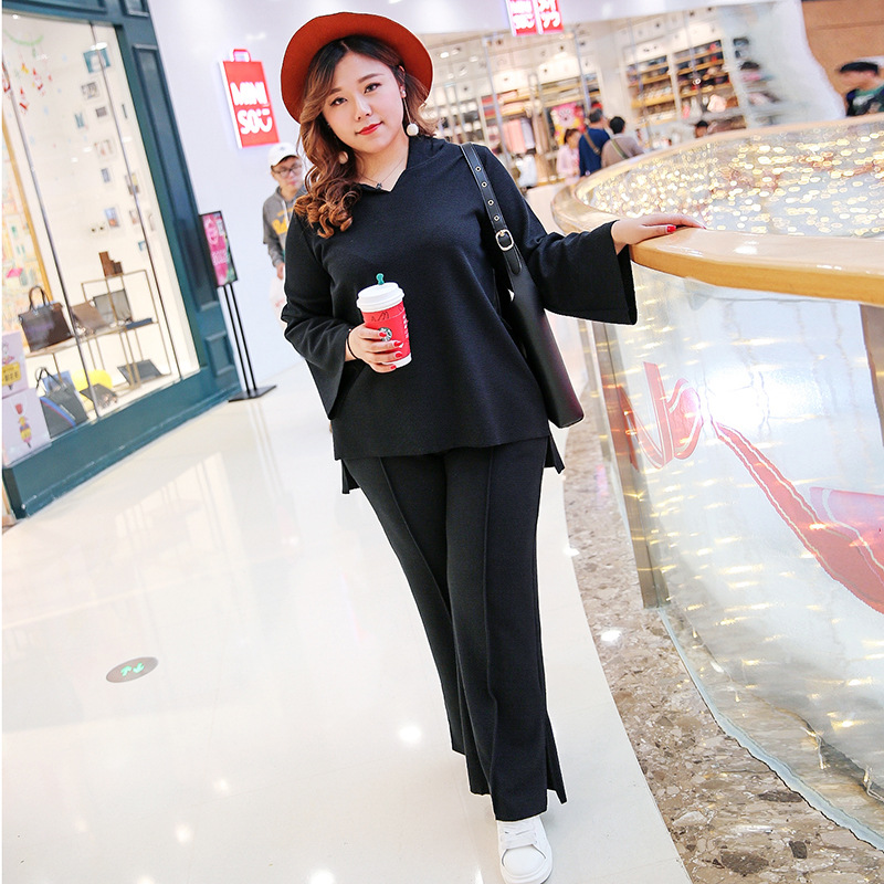 Plus Size Women Tops and Wide Leg Pants Suit Spring Big Size Suit Knitted Hooded Sweater