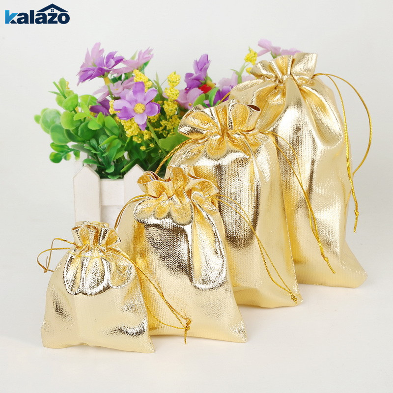 10PCS Gold Silver Metallic Color Drawstring Gift Bag Jewelry Packaging Bag Sacks Wedding Birthday Party Favors Home Supplies