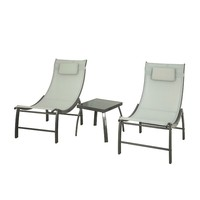 SoBuy OGS37 HG, 3 Pieces Outdoor Patio Garden Furniture Set Lounge Set 2 Chairs & Side Table