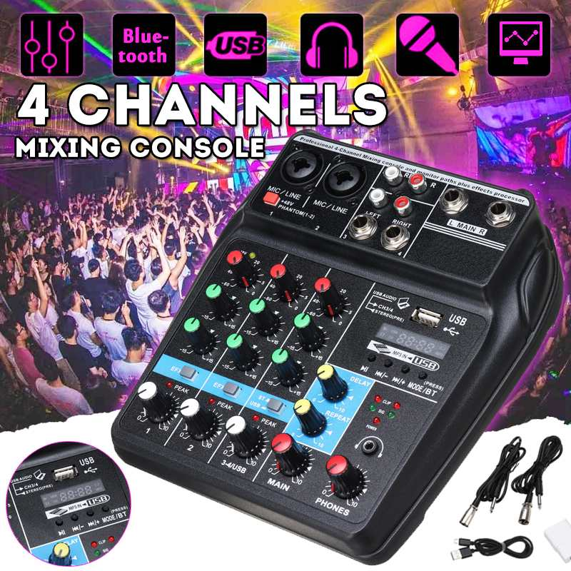 Professional A4 Sound Mixing Console Audio Mixer bluetooth Record 48V Phantom Power Effects 4 Channels Audio Mixer with USB