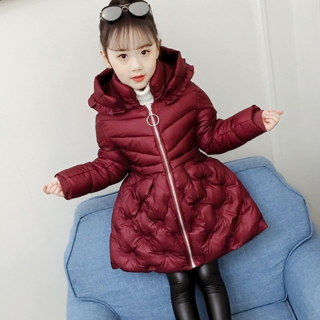 Cheap Kids Winter Jacket For Girls Outerwear Coats Clothing Fashion 2019 Children Solid Hooded Warm Parkas Baby Big Girl Tops Clothes