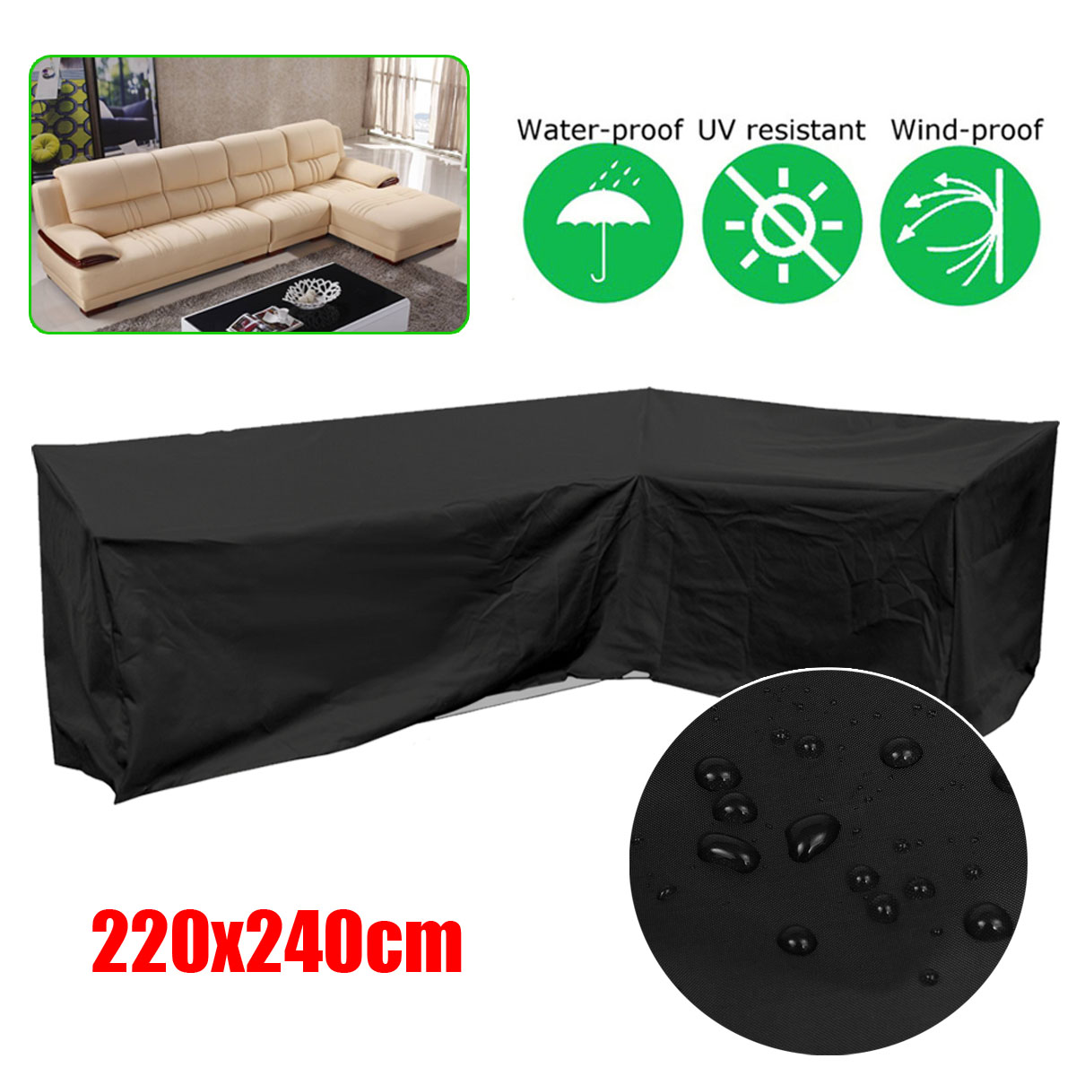 220x240cm L Shape Corner Sofa Couch Cover Waterproof Dustproof Covers for Outdoor Furniture Protection Black/Green/Silver220x240cm L Shape Corner Sofa Couch Cover Waterproof Dustproof Covers for Outdoor Furniture Protection Black/Green/Silver