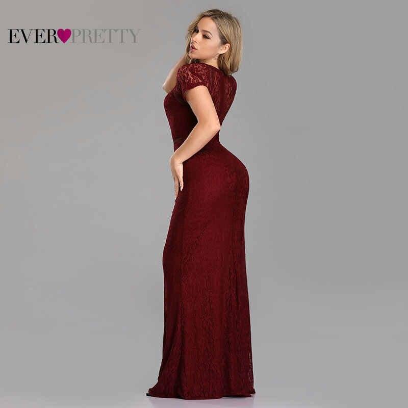 שמלות נשף בתוספת גודל ארוך 2019 סקסי מלא תחרה קצר שרוול O-צוואר המפלגה בת ים שמלות פעם די בורדו Vestido דה גאלה