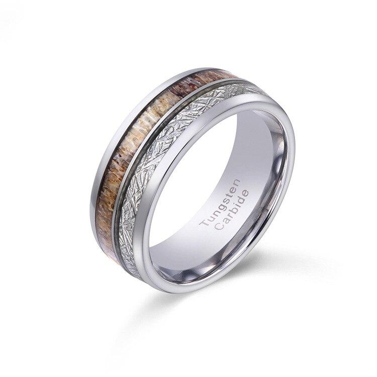 2019 Vintage haute poli 8mm largeur tungstène anneaux pour homme fiançailles dôme bande incrustation Elk Antler et météorites taille 6-13