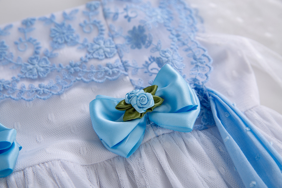 Image 5 - Pettigirl Blue Girls Dress With Bow Carved Hollow Design Girls  Party Dress Lovely Children Clothes G DMGD112 C130BLDresses   -