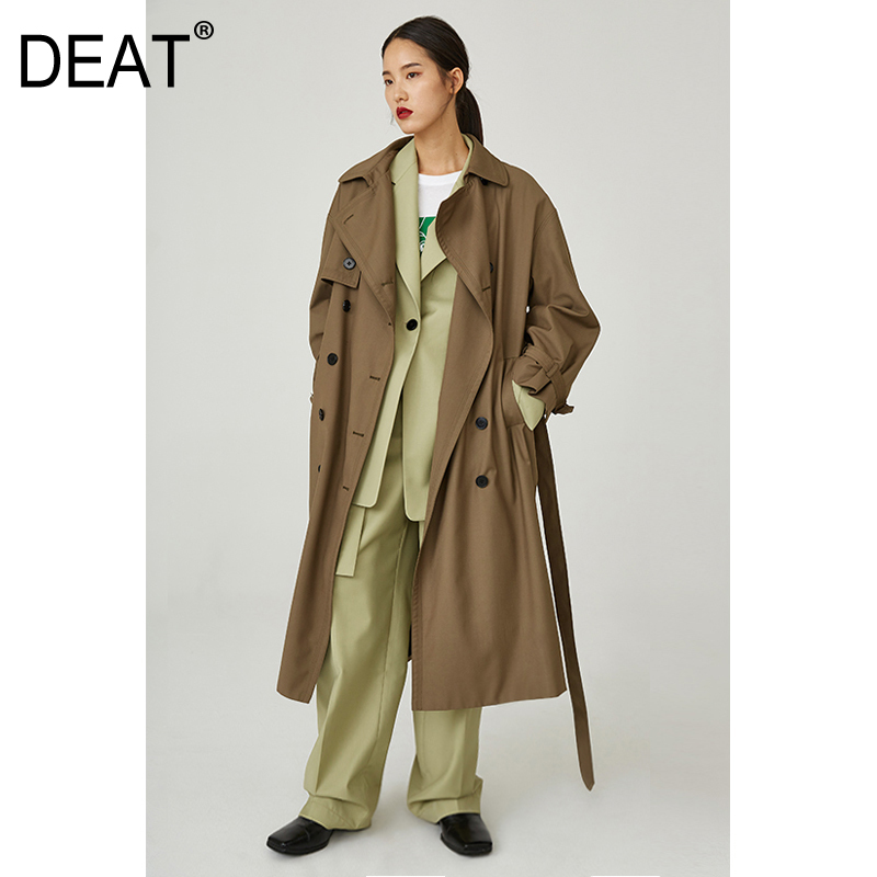DEAT 2019 New Spring Turn-down Collar Double Breasted Brown Jacket Loose Long Windbreaker POCKETS With Waist Betls WD77704L