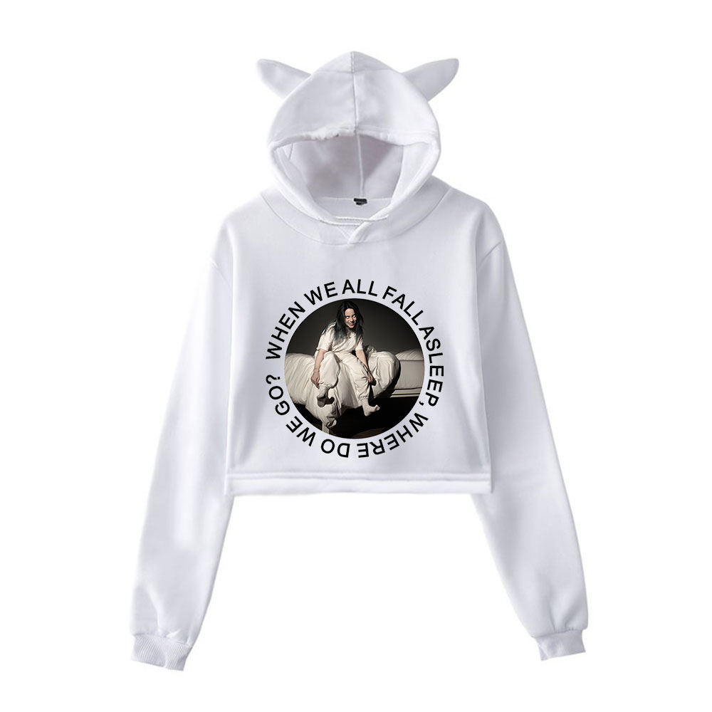 2019 New Billie Eilish Fashion Print Cat Crop Top Women Summer Hoodies Sweatshirt Sexy K-pops Harajuku Cat Hooded Fashion XXL