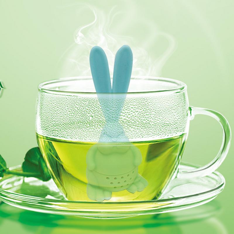 Cartoon Tea Strainer Silicone Rabbit Tea Bag Big Ear Rabbit Tea Bag Filter Infusion Silicone Loose Leaf Tea Filter Random Color