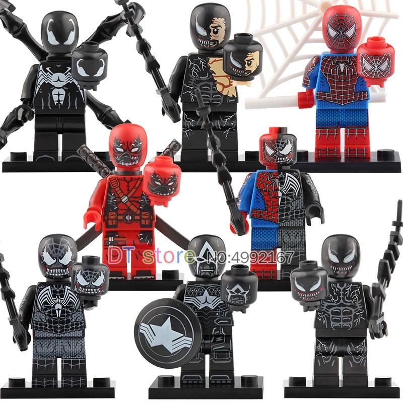 50 Pcs/Lot légosement Venom film série Deadpool Spiderman Ironman Super héros chiffres blocs de construction briques jouets enfants KT1010