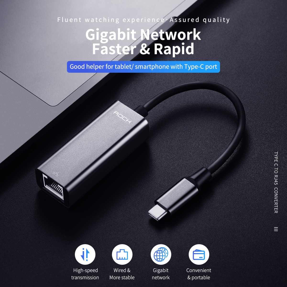 Rock Ethernet-Network-Adapter Dock Hub-Converter Macbook USB-C RJ45 To Mbps for 1000