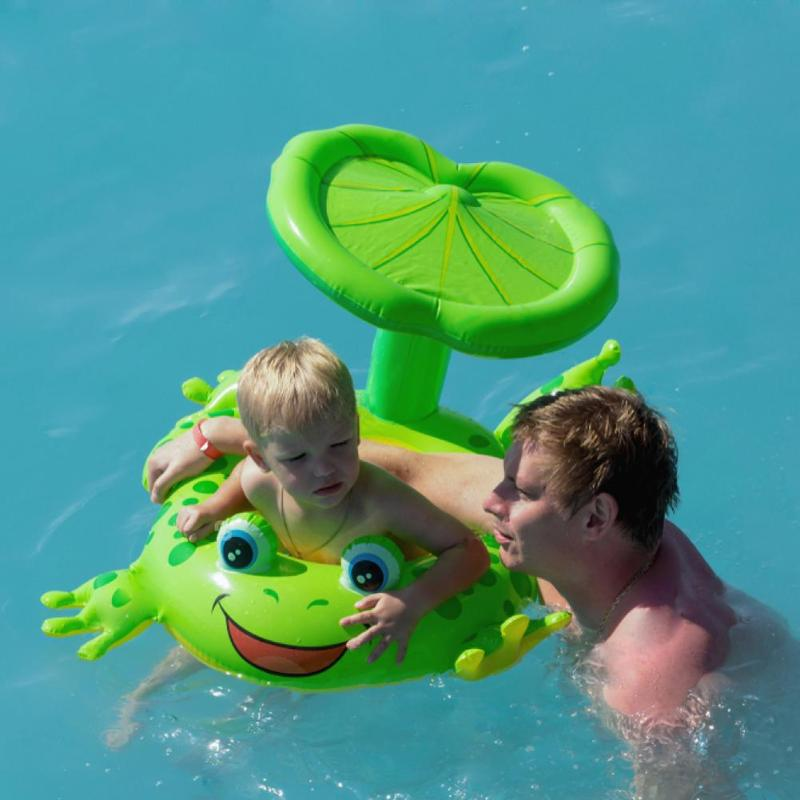 Frog Lovely Green Frog Swim Ring With Sunshade Kids Safe Floating Inflatable Swimming Toys Water Pool Tube