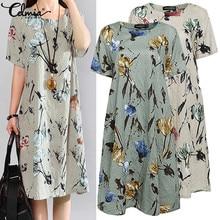 Celmia Plus Size Summer Dress 2019 Women Floral Print Dress Casual Short Sleeve Loose Vintage Beach Vestidos Mujer Sundress