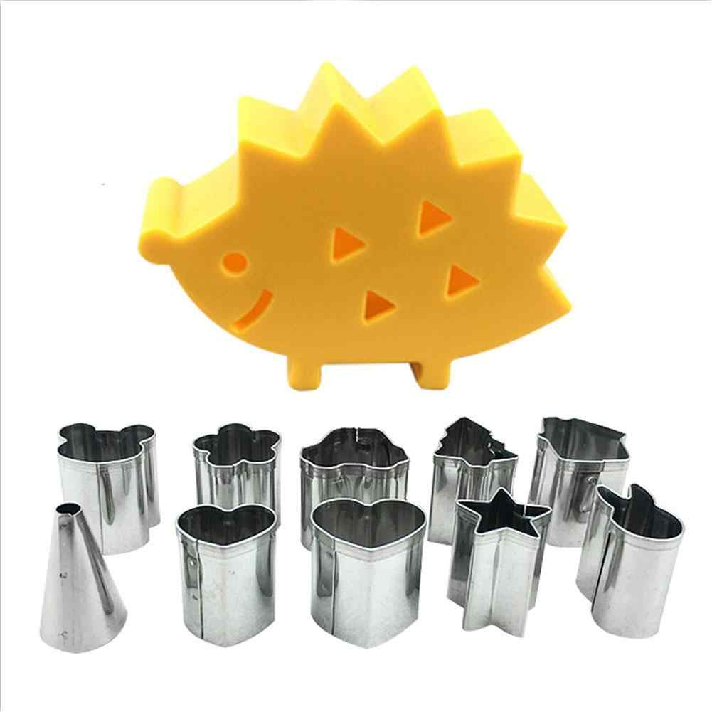 10pcs/set Fruit Cookie Cutter Mold Hedgehog Box Design Mini Stainless Steel Mould Biscuit Fondant Cake Decorating Tools