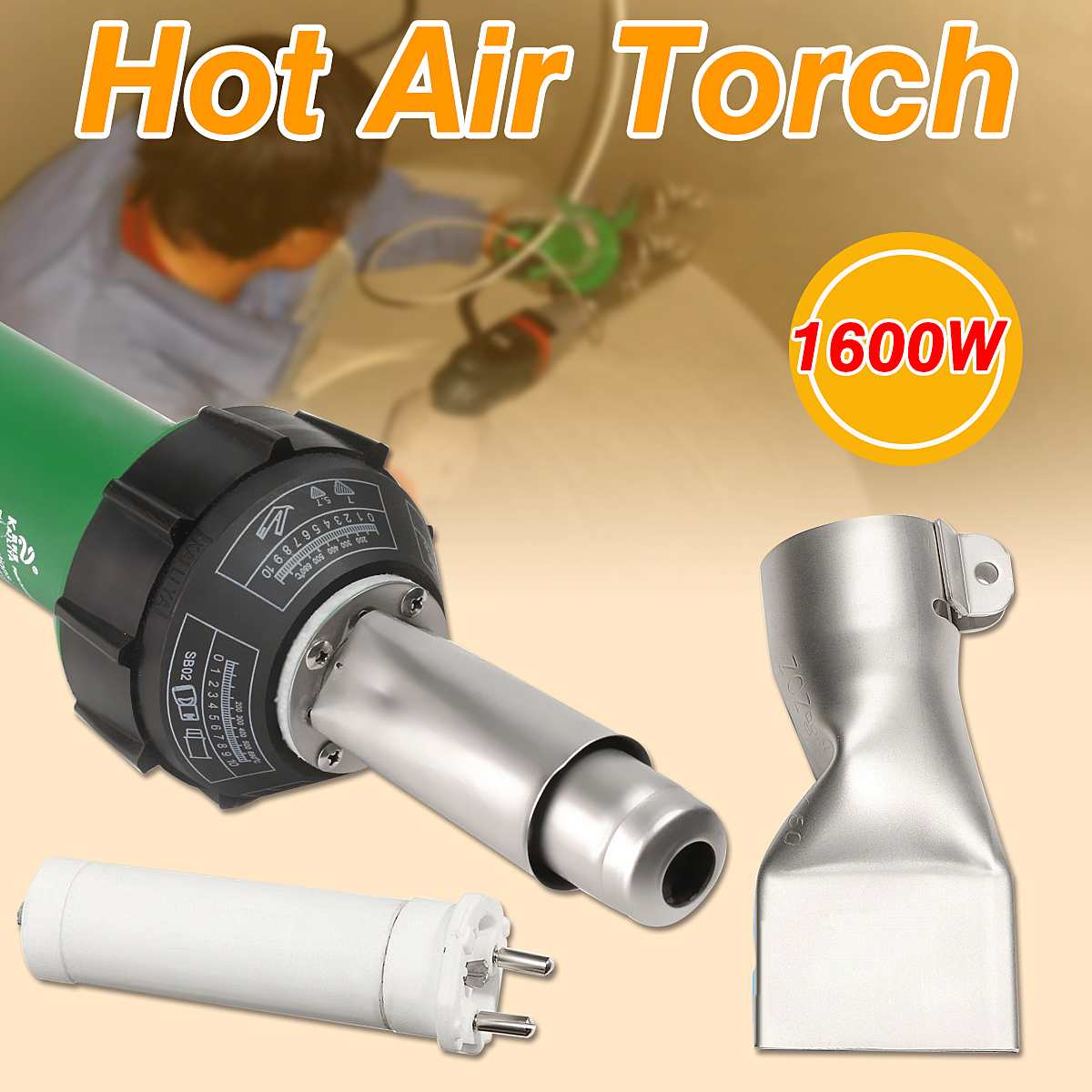 1Pcs  AC 220V 1600W 50/60Hz Hot Air Torch Plastic Welding-Gun For Welder + Flat Nose Wholesale Price High Quality