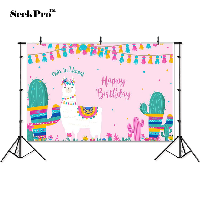 thin vinyl happy birthday Alpaca cactus baby children photo Backgrounds Printed Professional indoor Photographic studio Backdrop