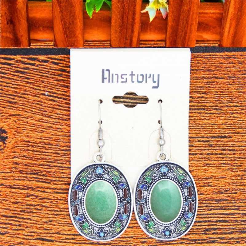 ธรรมชาติ Jades เครื่องประดับหินชุด Vintage สร้อยคอต่างหูภาพวาดหัตถกรรมดอกไม้โบฮีเมียแฟชั่นเครื่องประดับ TS453