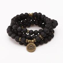Bracelete de buda lotus mala, pulseira para mulheres e homens de 8mm, de pedra de rock de lava, pingente de pulseira ou colar de moda, 108 joias,