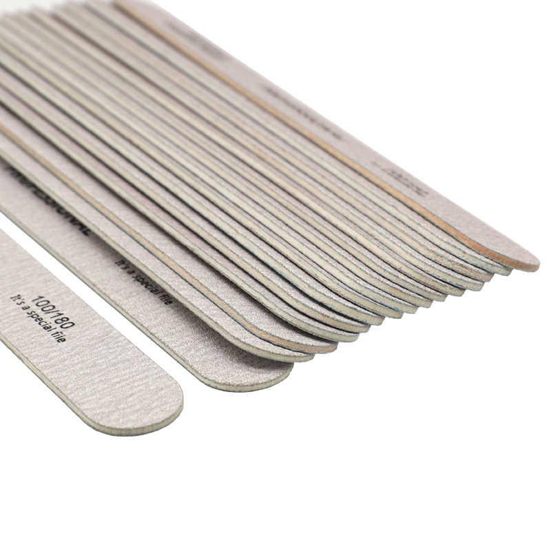 10 pièces limes à ongles en bois pour manucure bois tampon 100/180 pédicure Nail Art UV Gel polisseur gris épais lime a ongle professionel