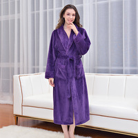 Female Flannel Single faced Terry Velvet Bath Robes Women Men Long Winter Home String Bathrobes Couple Warm Dressing Gown