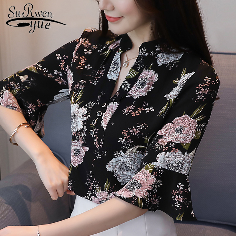 HLB1obm9PkvoK1RjSZFNq6AxMVXa8 new 2018 summer short sleeve women's clothing fashion plus size 5XL Chiffon women blouse Shirt loose woemn's tops blusas 60A 30