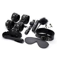10PCS/Set Adult PU Leather BDSM Bundle Bondage Set Handcuffs Whip Eye Mask Sex Toys Slave Sex Game For Couples Sex Products