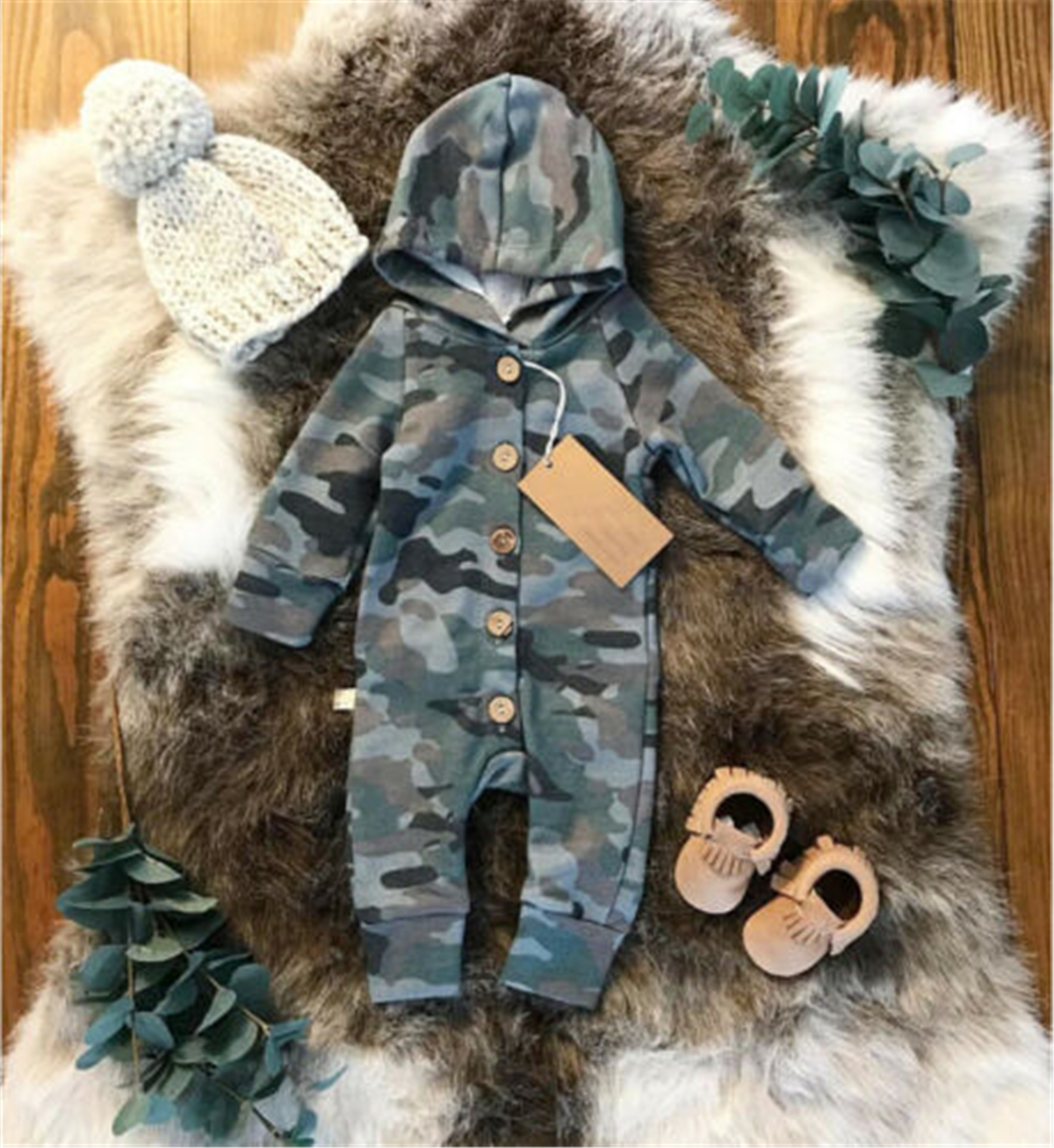 Emmababy Boy Girl Camouflage Hooded   Romper   Fashion Jumpsuit Baby Kid Playsuit Outfit Clothes For unisex